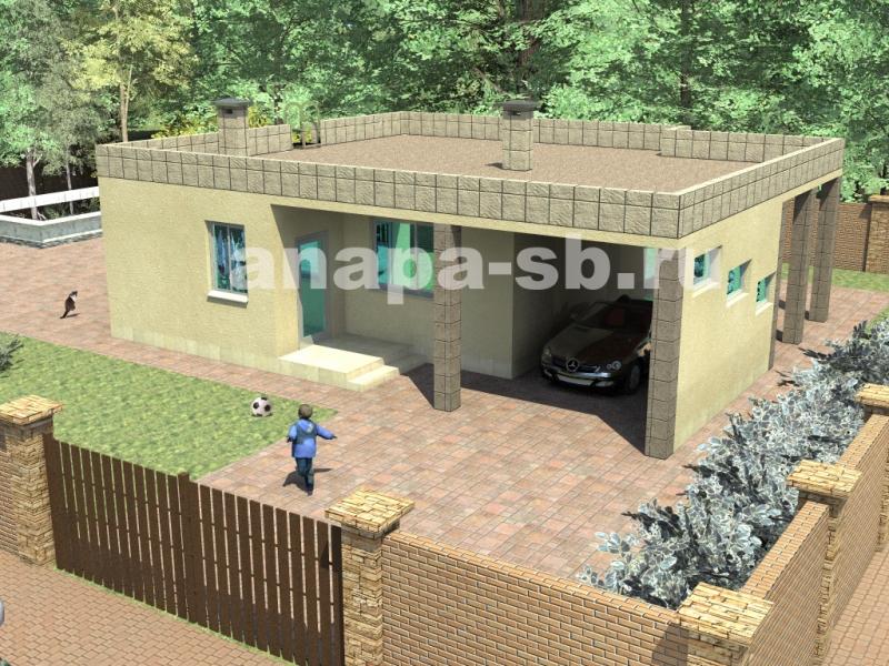 Одноэтажный дом с плоской крышей 82 кв.м.