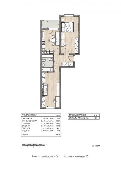 2-к квартира в жк «Южный квартал» город Анапа.