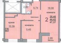2-х комнатная квартира 47 кв.м. ЖCК