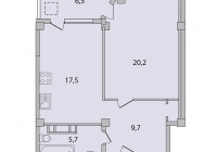 1 комнатная квартира 59 кв.м. ЖК