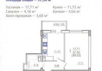 Продается 1 комнатная квартира 37 кв.м. ЖК