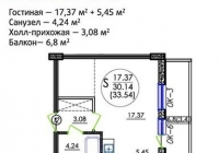 Квартира-студия 36 кв.м. ЖК