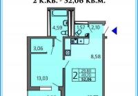 2-х комнатная квартира 52 кв.м. ЖК