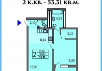 2-х комнатная квартира 53 кв.м. ЖК