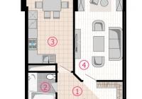 1 комнатная квартира 43 кв.м. ЖК