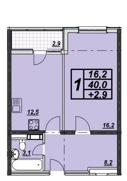 1 комнатная квартира 42 кв.м. ЖК
