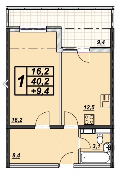 1 комнатная квартира 47 кв.м. ЖК