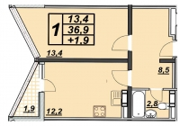 1 комнатная квартира 38 кв.м. ЖК