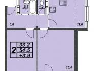 2-х комнатная квартира 57 кв.м. ЖК