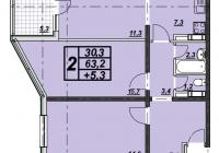 2-х комнатная квартира 67 кв.м. ЖК