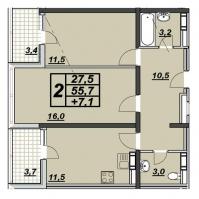 2-х комнатная квартира 61 кв.м. ЖК