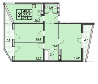 3-х комнатная квартира 86 кв.м. ЖК